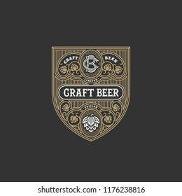 Flourishes beer label design template with hops. Vector illustration.