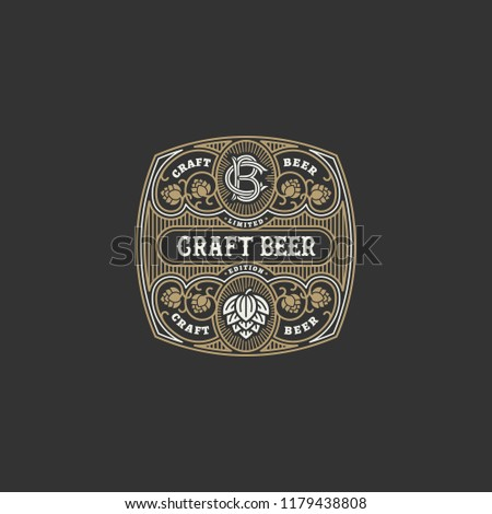 flourishes beer label design template hops stock vector royalty