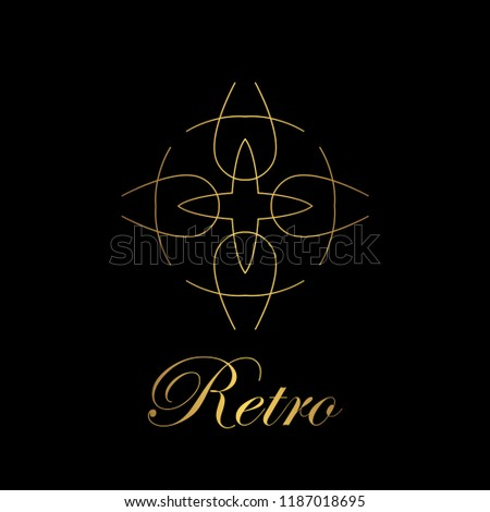 flourishes calligraphic art deco logo emblem stock vector royalty