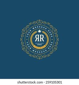 Flourishes calligraphic monogram emblem template. Luxury elegant frame ornament line logo design vector illustration
