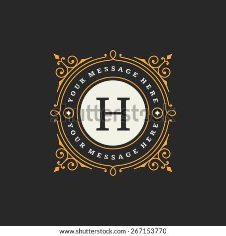 flourishes calligraphic monogram emblem template luxury のベクター