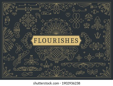 Flourishes calligraphic vintage ornamental background. Golden ornate page with swirls and vignettes elements. Frame design template. Vector restaurant menu or royalty certificate