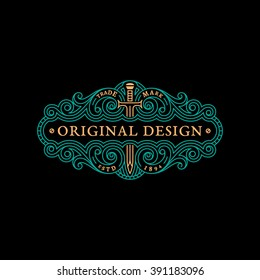 Flourishes elegant ornament label template with sword in trendy linear style. Vector illustration.