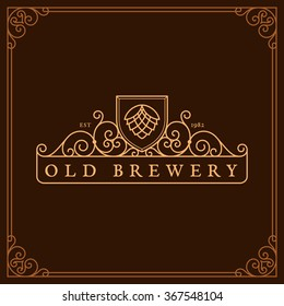 Flourishes frame ornament template with hop for logos, labels, emblems for beer house, bar, pub, brewing company, brewery, tavern. Vector illustration.