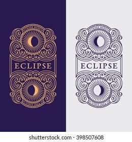 Flourishes luxury elegant ornament label template with sun in trendy linear style. Vector illustration.