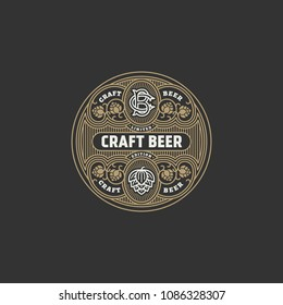 Flourishes round beer label design template with hops in linear style. Vector illustration.