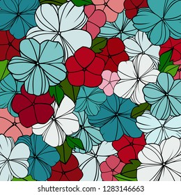 flover print in bright colors, abstract floral pattern, spring background