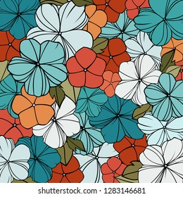 flover print in bright colors, abstract floral pattern, vintage spring background