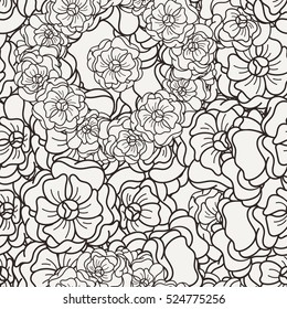Flover wallpaper in the style of Art Nouveau. Seamless vector background.