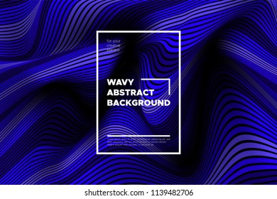 Flow Background with Liquid Shapes. Distortion of Space. Trendy Abstract Cover with Vector Wave Lines. Movement Effect. Wavy Colorful 3d Surface. Flow Background with Optical Illusion for Design.