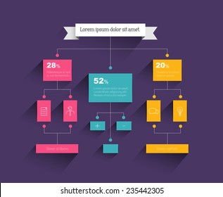 Flow chart. Infographic element. Vector flat design.
