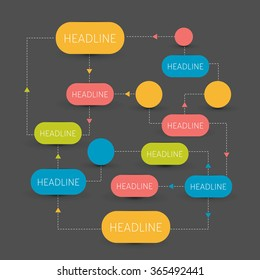 Flow chart scheme. Infographics elements. Vector design isolated on black.