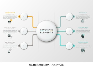 Flow chart with white central round element connected with 6 circles, thin line icons and text boxes. Six features of service provided by company. Modern vector illustration for website, presentation.