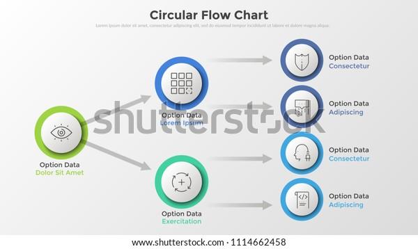 Flow Diagram Flowchart Circular Paper White Stock Vector Royalty Free 1114662458