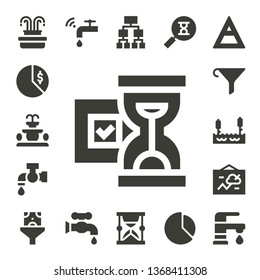 flow icon set. 17 filled flow icons.  Simple modern icons about  - Fountain, Chart, Hourglass, Tap, Funnel, Lake, Faucet, Structure, Sandclock, Air