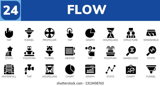 flow icon set. 24 filled flow icons.  Simple modern icons about  - Tap, Funnel, Propeller, Graph, Hourglass, Structure, Windshield, Stats, Fountain, Heater, Sandclock, Waterfall
