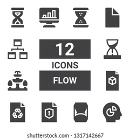 flow icon set. Collection of 12 filled flow icons included Chart, Hourglass, File, Fountain, Workflow, Sandclock