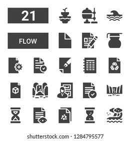 flow icon set. Collection of 21 filled flow icons included Wave, Hourglass, File, Sandclock, Waterfall, Files, Measuring glass, Crucible, Fountain