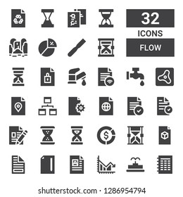 flow icon set. Collection of 32 filled flow icons included File, Fountain, Chart, Hourglass, Diagram, Sandclock, Workflow, Air, Faucet, Waterfall, Sand clock
