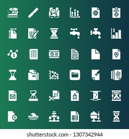 flow icon set. Collection of 36 filled flow icons included Sandclock, Crucible, File, Fountain, Wave, Hourglass, Waterfall, Files, Graph, Chart, Faucet, Water tap