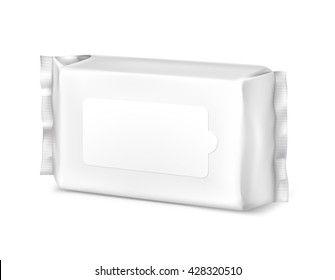 Flow pack isolated on white background. Vector illustration. Pack wet wipe template ready for you. Can be use for presentation wet wipe design.