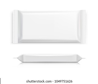 Flow pack with realistic transparent shadows on white background with two angles. Vector illustration ready for your design. EPS10.