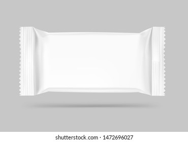 Flow packaging mockup. Vector illustration on grey background. Can be use for your design, promo, adv and etc. Possibility for food, pharmaceutical, cosmetic. EPS10.