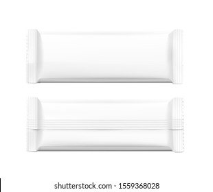 Flow packaging mockup. Vector illustration isolated on white background. Can be use for your design, promo, adv and etc. Possibility for food, pharmaceutical, cosmetic. EPS10.