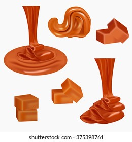 Flow, pouring sweet caramel.Caramel candies,square,toffee,pieces of fudge, sauce. Melted caramel cream. Peanut butter spread. Liquid caramel runs down, the candy nougat. Tasty brown butterscotch.