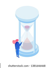 Flow of time metaphor isometric illustration. Time management expert watching sand in hourglass isolated character. Antique sandglass measuring hours, counting minutes to deadlines