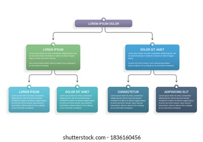 Flowchart with 3 levels, infographic template for web, business, presentations, vector eps10 illustration