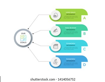 Flowchart with 4 round paper white elements connected to main circle. Concept of four main business goals of company. Modern infographic design layout. Flat vector illustration for brochure, report.