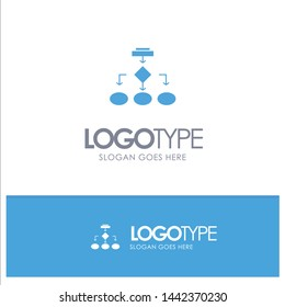 Flowchart, Algorithm, Business, Data Architecture, Scheme, Structure, Workflow Blue Solid Logo with place for tagline