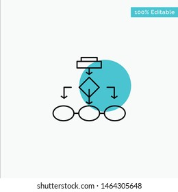 Flowchart, Algorithm, Business, Data Architecture, Scheme, Structure, Workflow turquoise highlight circle point Vector icon. Vector Icon Template background