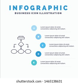Flowchart, Algorithm, Business, Data Architecture, Scheme, Structure, Workflow Line icon with 5 steps presentation infographics Background. Vector Icon Template background