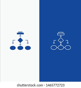 Flowchart, Algorithm, Business, Data Architecture, Scheme, Structure, Workflow Line and Glyph Solid icon Blue banner Line and Glyph Solid icon Blue banner. Vector Icon Template background