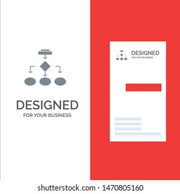 Flowchart, Algorithm, Business, Data Architecture, Scheme, Structure, Workflow Grey Logo Design and Business Card Template. Vector Icon Template background