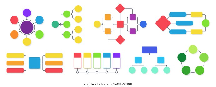 Flowchart diagram. Workflow flow charts, business structural infographics chart and flowing diagrams isolated vector set. Business hierarchy structure, diagram and flowchart organizational