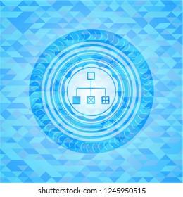 flowchart icon inside light blue mosaic emblem