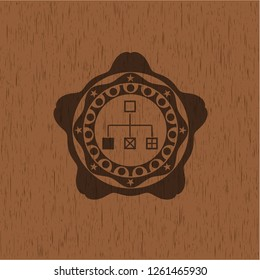 flowchart icon inside realistic wooden emblem