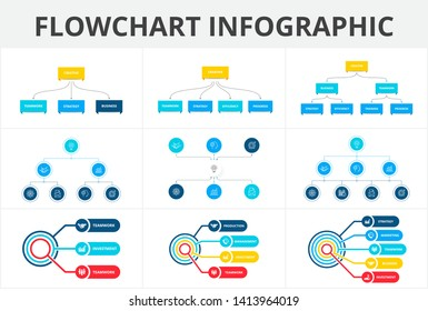 Flowchart infographic set. Illustration for data visualization with 3, 4, 5, 6, 7 and 8 processes. Structure template.