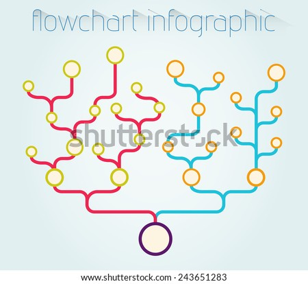 Flowchart Infographic Vector Template Usable Hierarchy Stock Vector
