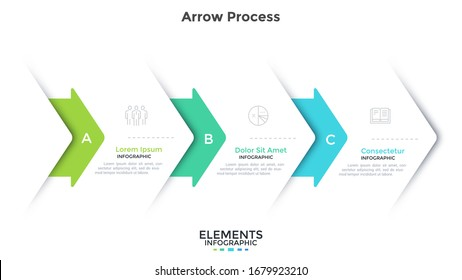 Flowchart with three overlaying paper white arrows placed in horizontal row. Concept of 3 steps of business project development process. Simple infographic design template. Flat vector illustration.