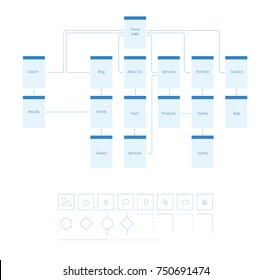 Flowchart UI UX Vector illustration