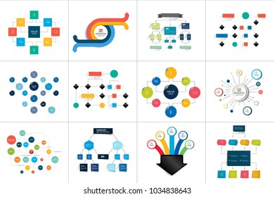 Flowcharts schemes, diagrams. Mega set. Simply color editable. Infographics elements.