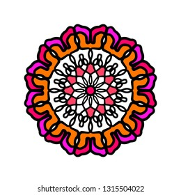 Flower abstract hand drawn colorful mandala for joga classes