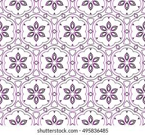 flower abstract seamless pattern. vector. purple gradient