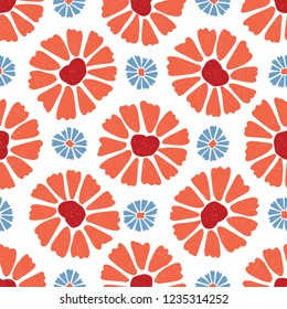 Flower All Over Print Vector. Colorful Blooms Seamless Repeating Pattern in Folk Art Style on White Background. Hand Painted, Tossed for Fashion Prints, Wallpaper, Stationery, Floral Garden Packaging.