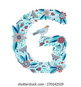 Flower alphabet letter G. Bright floral element of colorful alphabet made from birds, flowers, petals, hearts and twigs.