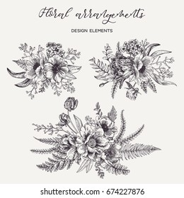 Flower arrangement with peonies, anemones, tulips, leaves of the fern and eucalyptus seeds. Spring and summer bouquet. Vector design elements.Black and white. Engraving.